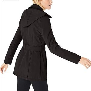Soft Shell Asymmetrical Zip Belted Coat With Hood